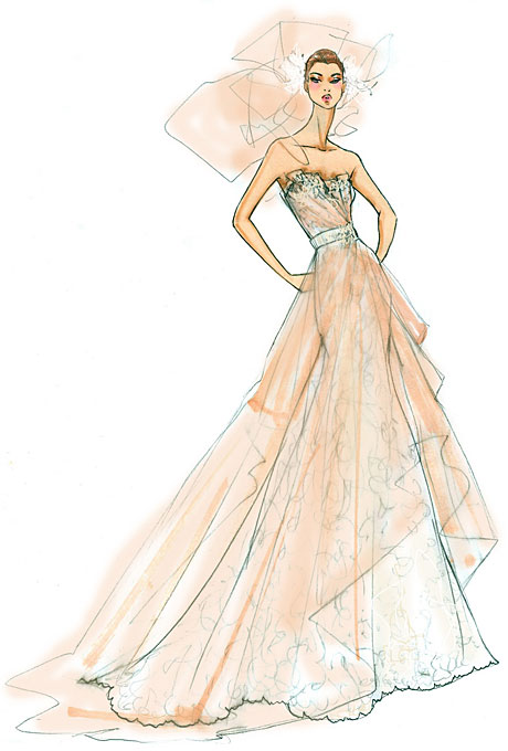 Fashion design sketches of dresses black and white pictures