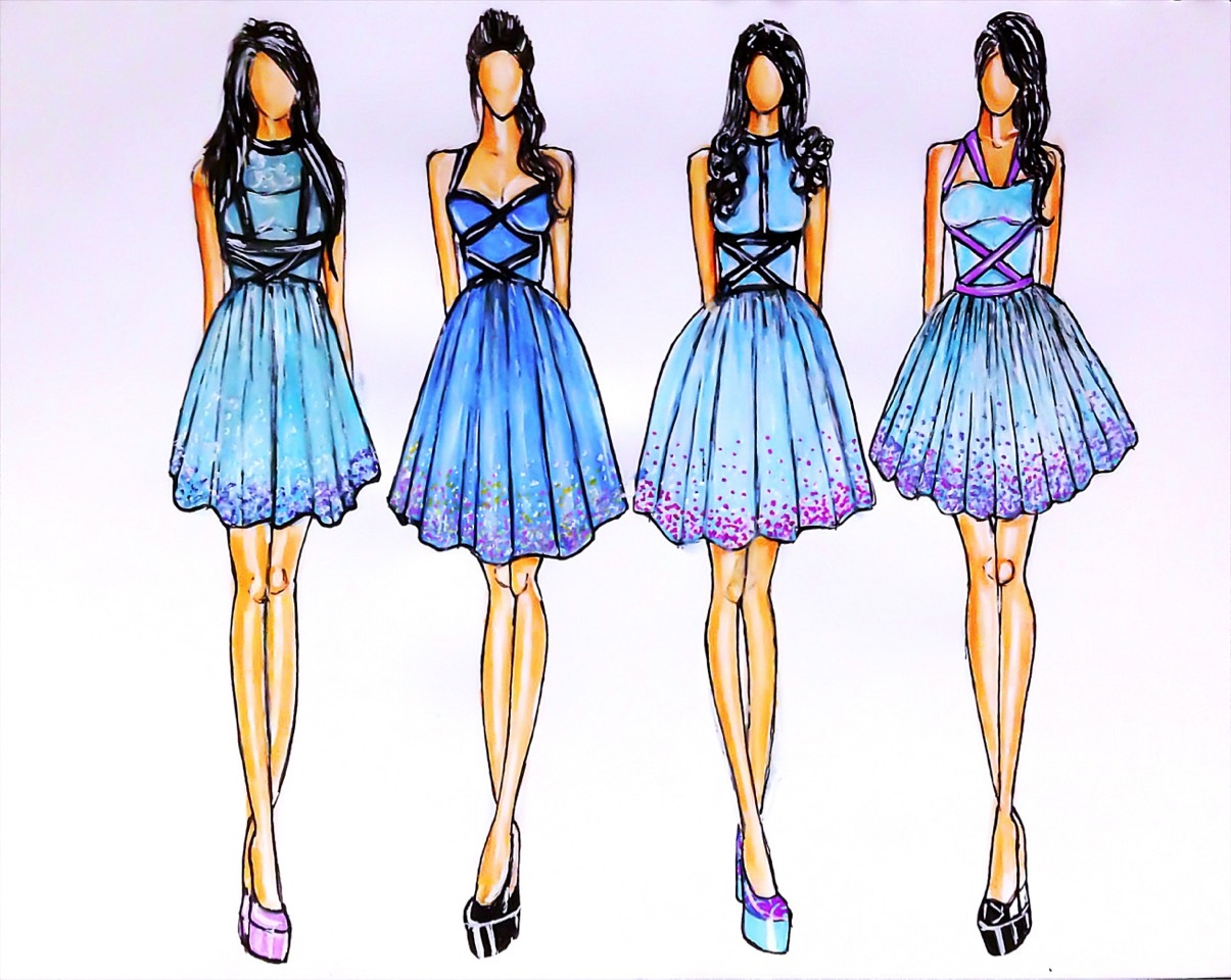 Fashion Design Sketches Of Short Dresses