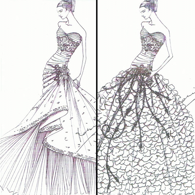 fashion design sketches of short dresses 2015