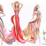 trending_pink_and_black_dress_fashion_design_sketches