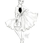 Fashion_illustration_of_model_in_a_ruffle_skirt_by_Balenciaga;_fashion_sketch____Madeleine_Carrol_Fashion_illustration_Pinterest