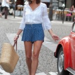 How_to_Wear_Polka_Dotted_Blue_Shorts_Plus_White_Top_-_поиск_Polka_Dotted_Blue_Shorts_Plus_White_Top_Chictopia