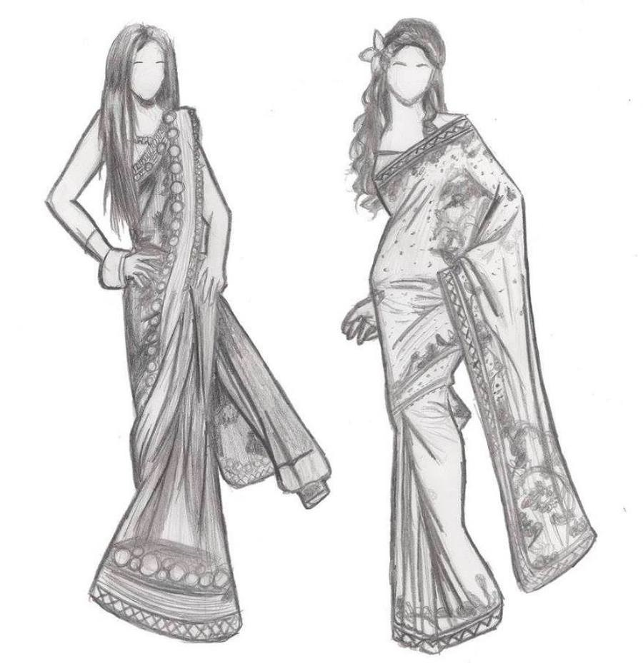 Indian Dresses Drawing Fashion Dresses
