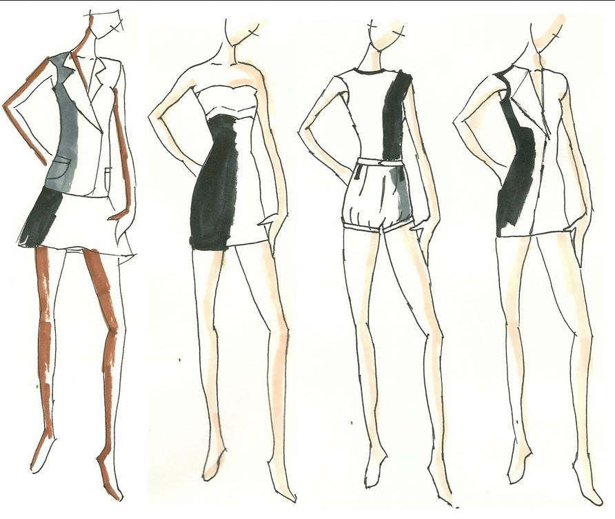 Simple fashion designer sketches