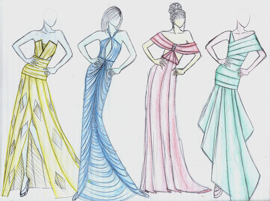Fashion Designing Sketches Dresses 2014 Goldin Ma