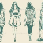 sketches_fashion_model_retro_Free_Vectors_have_about_(6)_free_download_at_AI,CDR,SVG_and_EPS