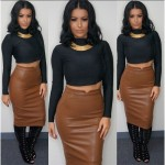 Товары_из_США_и_Китая_Women__39;s_Sexy_PU_Leather_Pencil_Bodycon_High_Waist_Mini_Dress_Midi_Skirt_Clubwear
