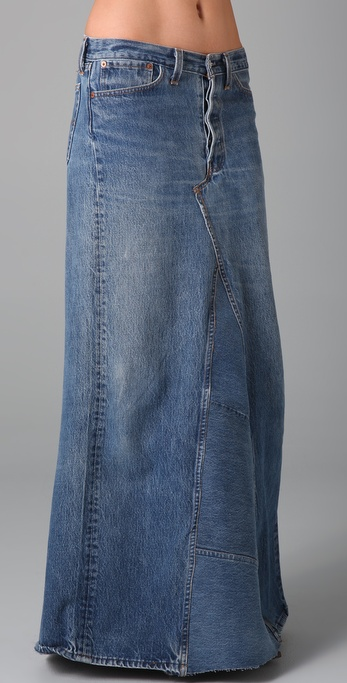 Levi Long Denim Skirts 2014 2015 Fashion Trends 2016 2017