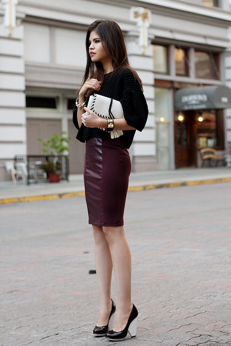 Leather Pencil Skirt Crop Top 2014 2015 Fashion Trends