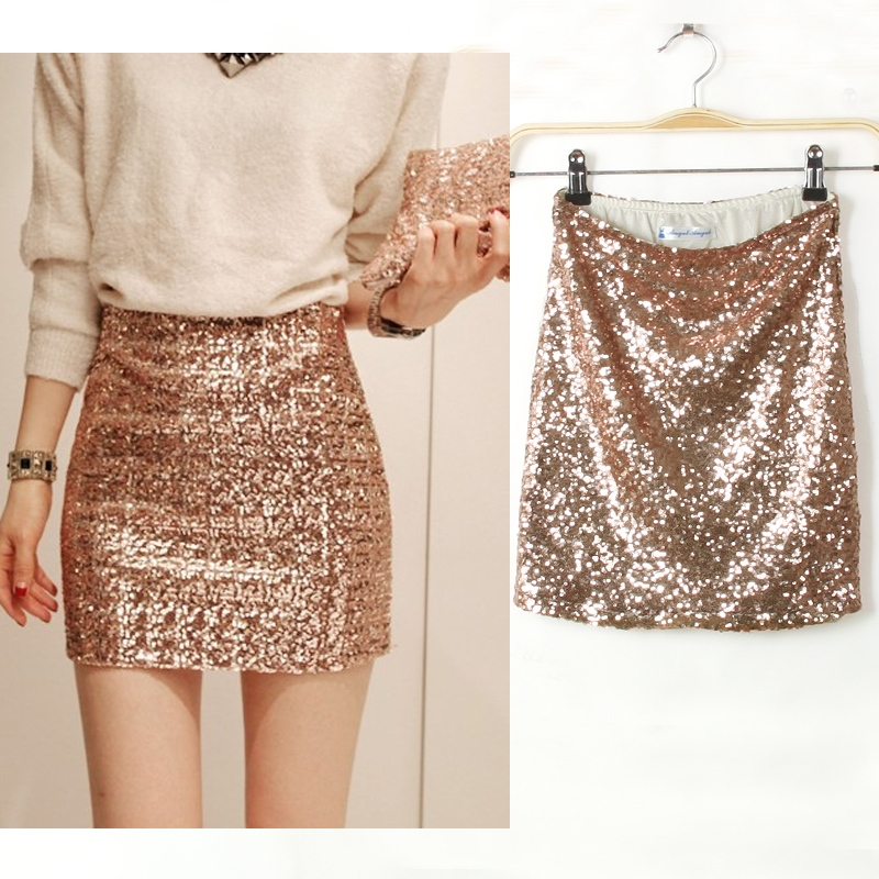 Long And Mini Gold Sequin Skirt 2015 2016 Fashion Trends
