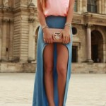 Women__39;s_Pink_Tank,_Blue_Slit_Maxi_Skirt,_Silver_Leather_Heeled_Sandals,_Beige_Leather_Clutch_Lookastic_for_Women