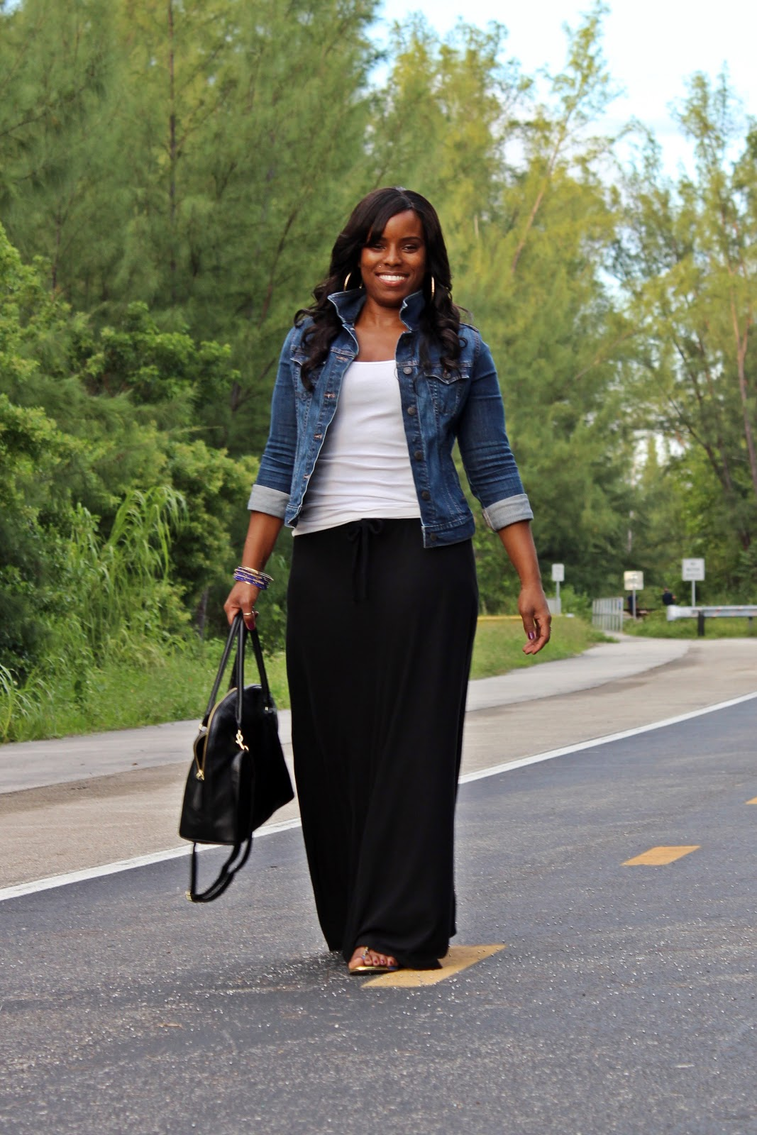 Black And White Maxi Skirt With Jean Jacket 2014-2015 | Fashion Trends ...