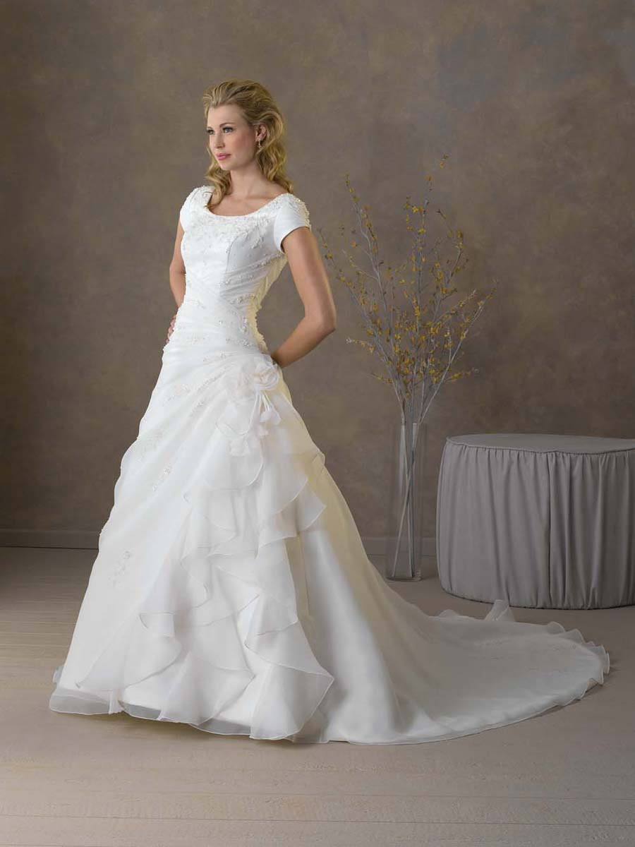 Turmec wedding dresses with short sleeves uk for Short wedding dresses uk