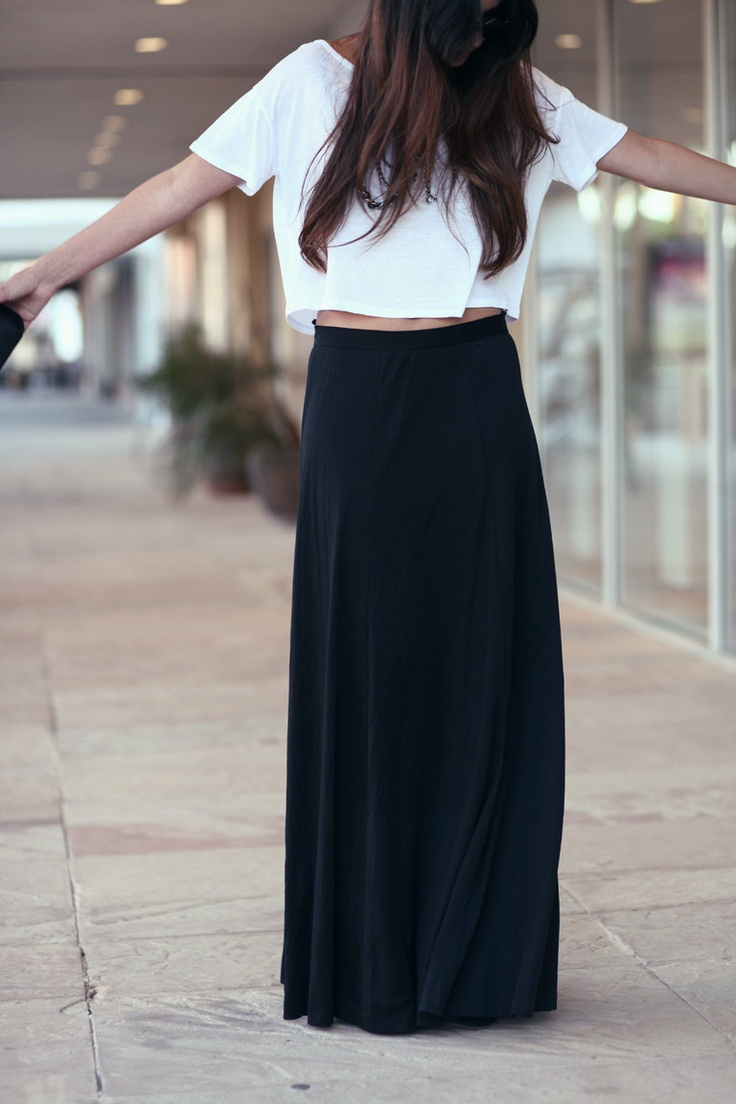 black maxi skirt with crop top high waisted maxi skirt