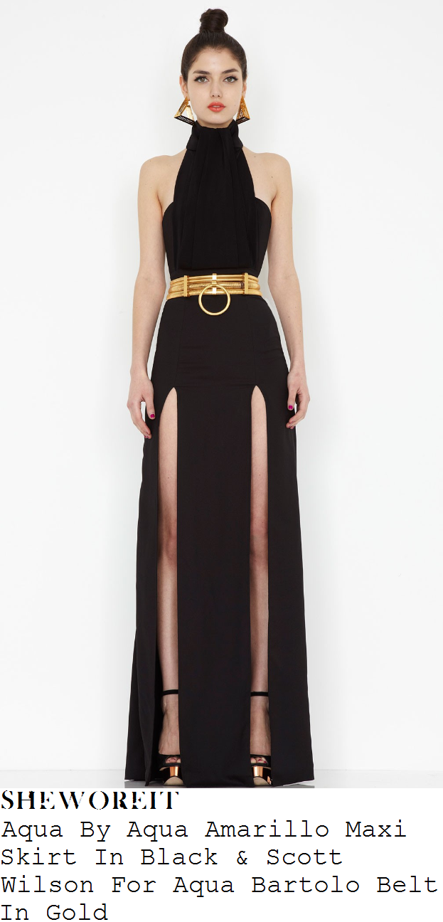 Waisted high maxi skirt with split