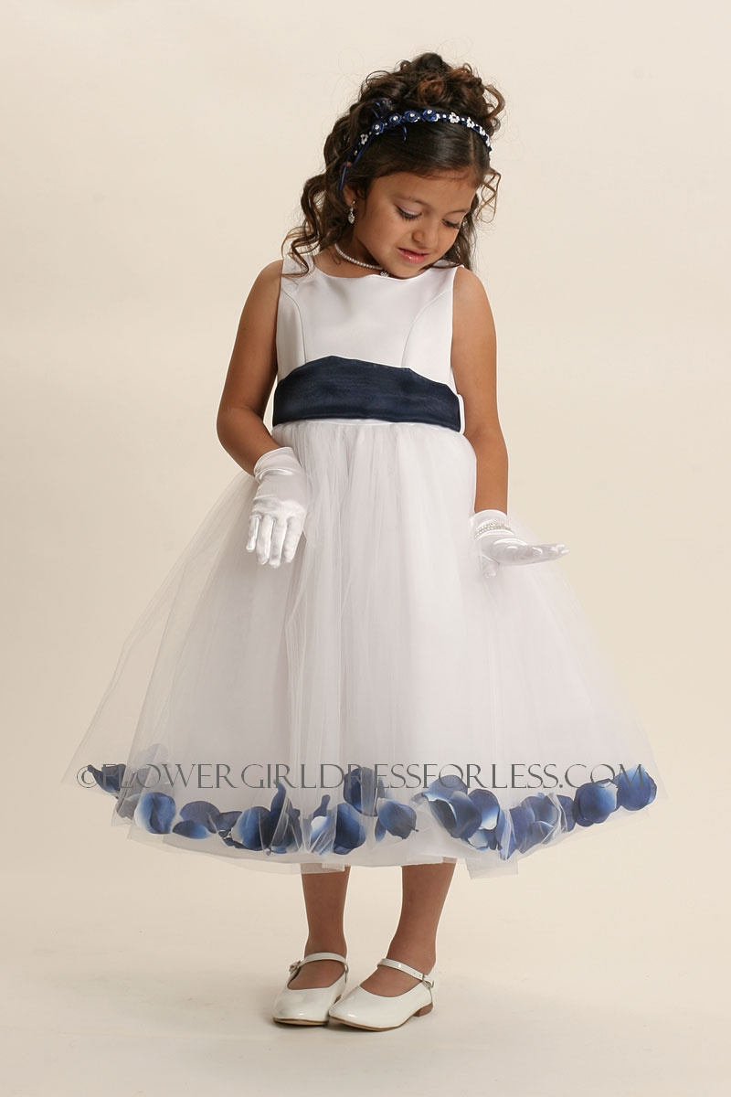 White Flower Girl Dress With Navy Blue Sash 49