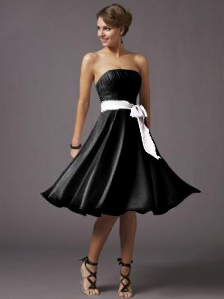 Black And White Short Bridesmaid Dresses