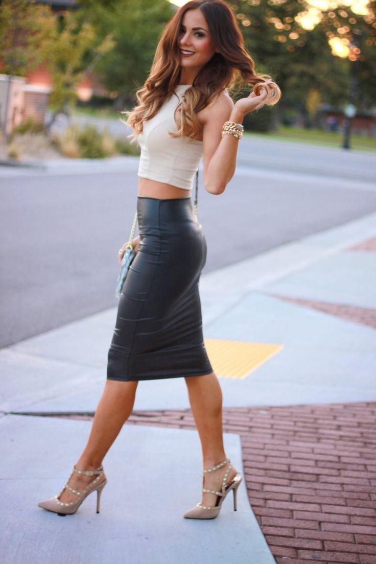 leather pencil skirt crop top 2015 2016 fashion trends