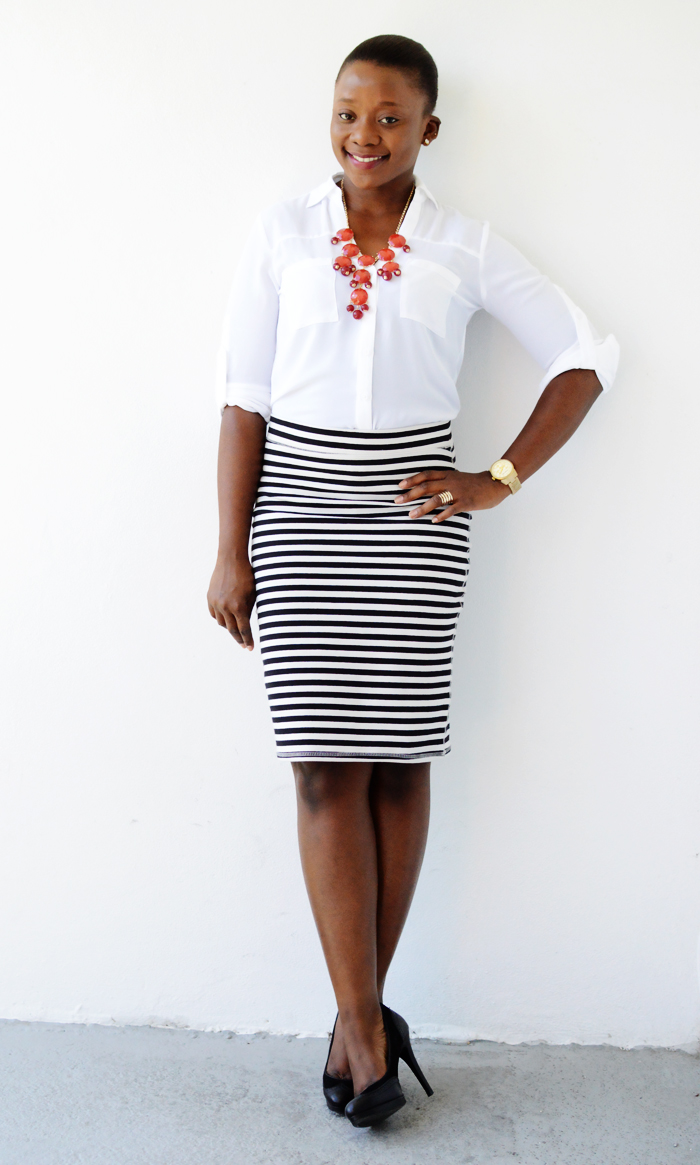 For a professional look, wear a black pencil skirt with a button-down collared shirt and opt for light colors like white or gray. For high-waisted skirts, tuck your shirt in. Wear black, closed-toe heels.