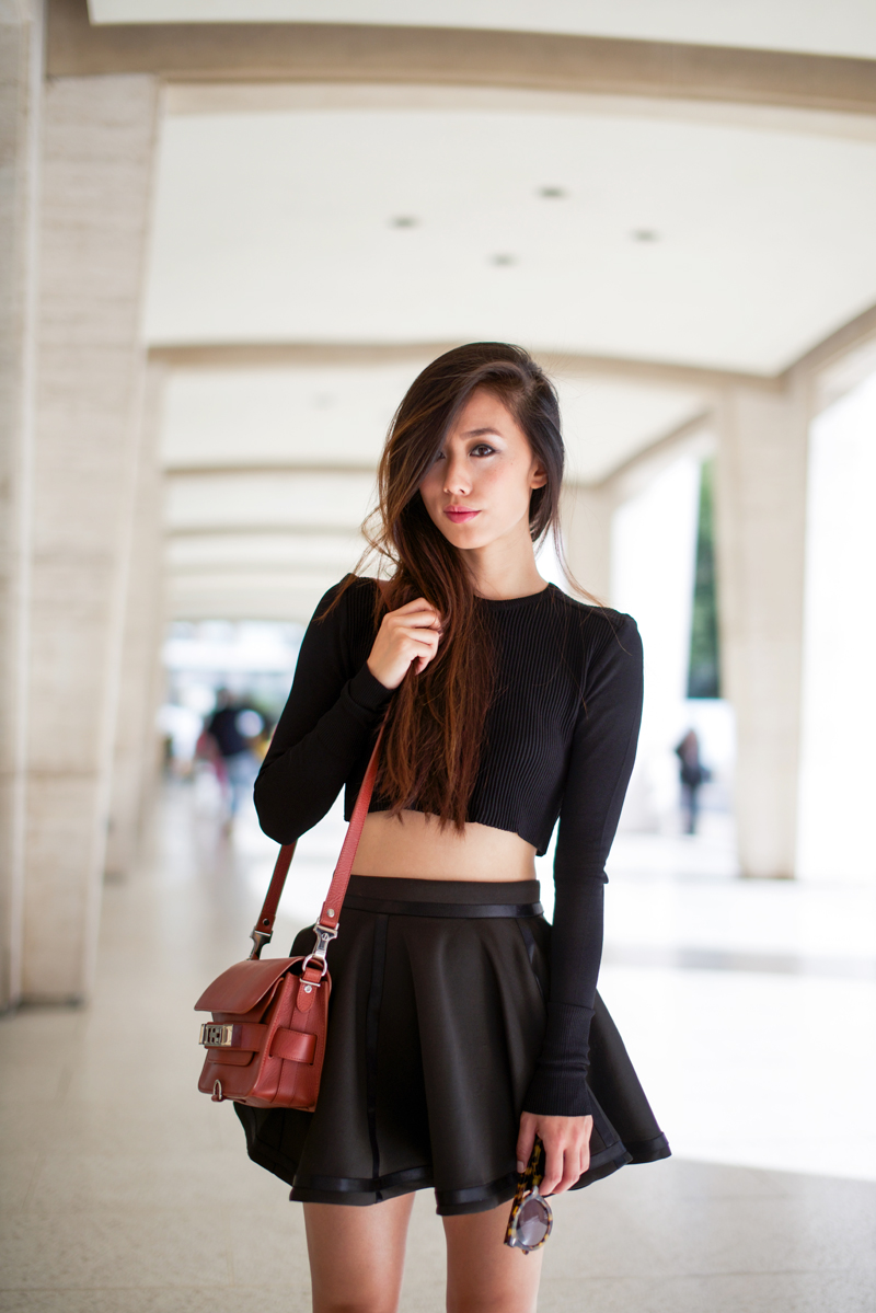 Long Black Skirt And Crop Top 2014 2015 Fashion Trends 2016 2017