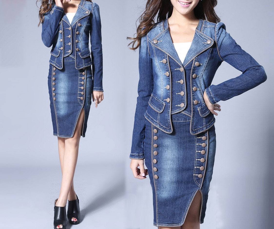 New 2015 New Women Saias A Denim Skirt High Waist Skirt Single Breasted