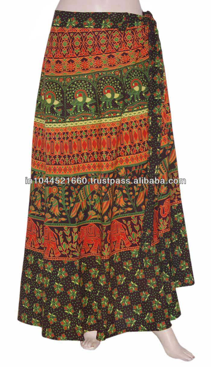 Popular India Clothing Cotton Long Indian Skirt Womens Printed India Clothing