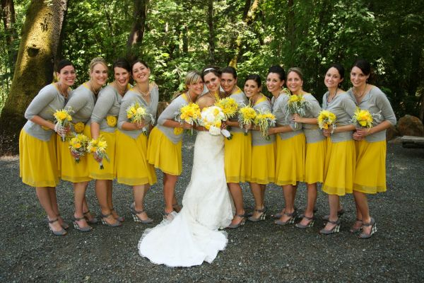 Yellow Bridesmaid Dresses And Grey Suits 87