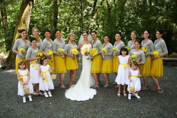Yellow Bridesmaid Dresses And Grey Suits 58