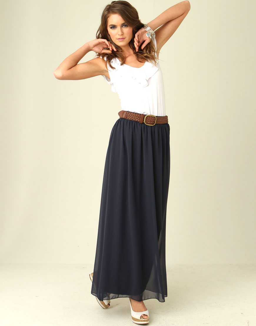 pleated maxi skirt chiffon 2014 2015 fashion trends 2016