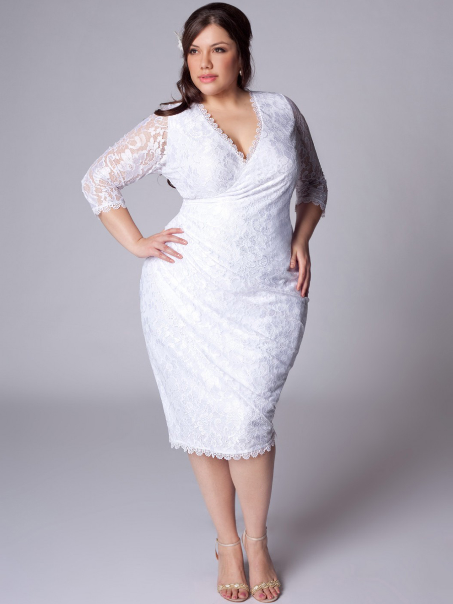 Plus size white dresses cocktail 2014 2015 fashion for Alternative plus size wedding dresses