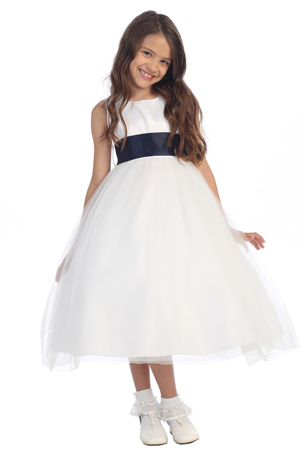White Flower Girl Dress Black Sash 102