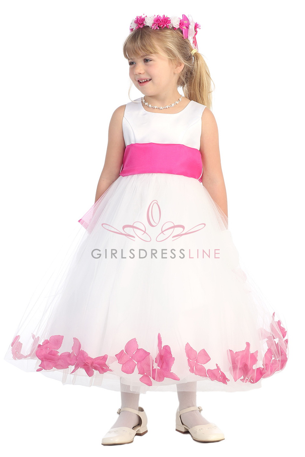 White Flower Girl Dresses With Hot Pink Sash 75