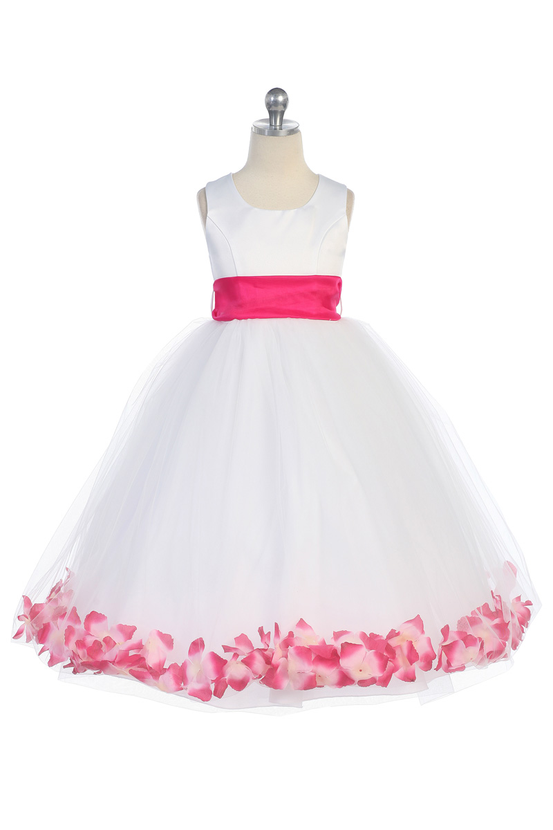 White Flower Girl Dresses With Hot Pink Sash 108
