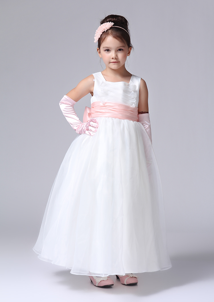 White Flower Girl Dresses With Hot Pink Sash 32