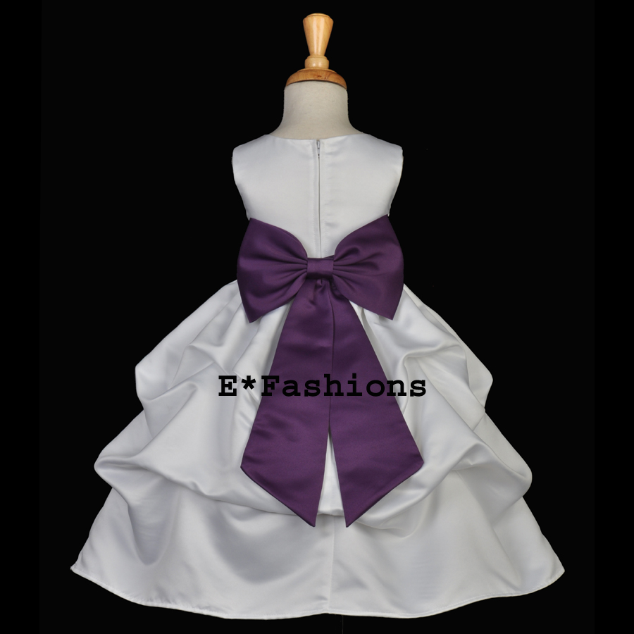 White Flower Girl Dress With Plum Sash 67