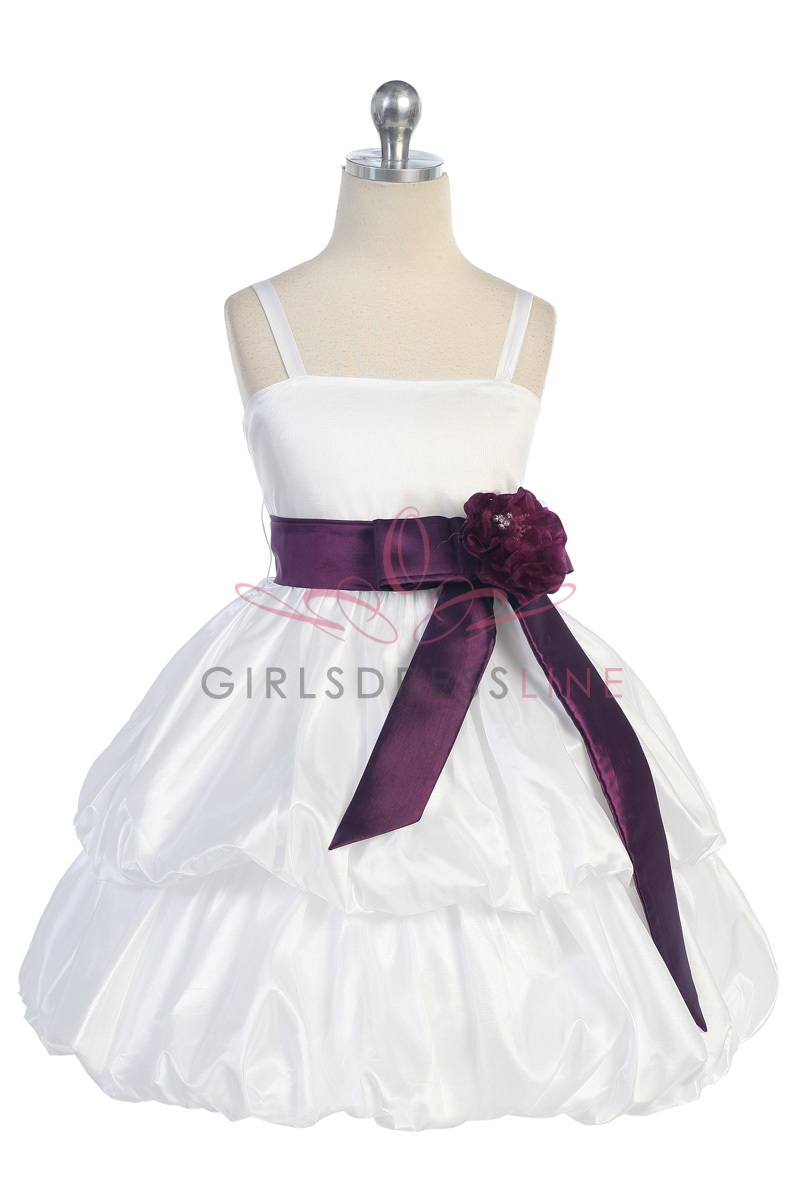 White Flower Girl Dress With Plum Sash 78