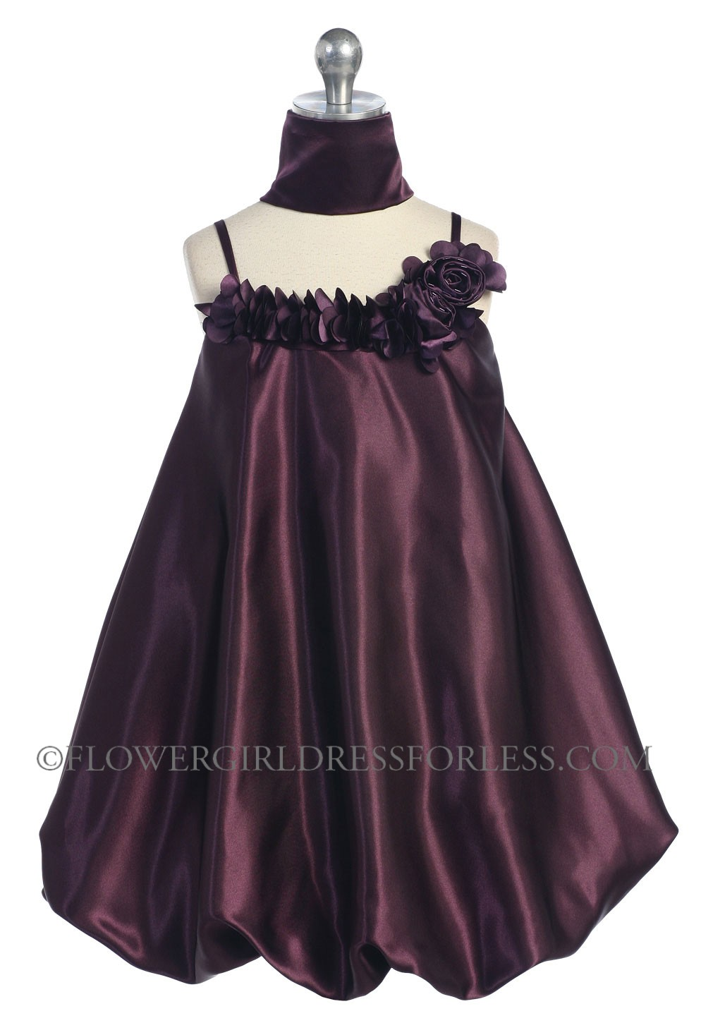 White Flower Girl Dress With Plum Sash 105