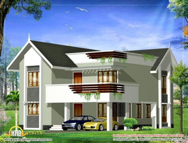 Front view of duplex house in kerala joy studio design for Duplex house models