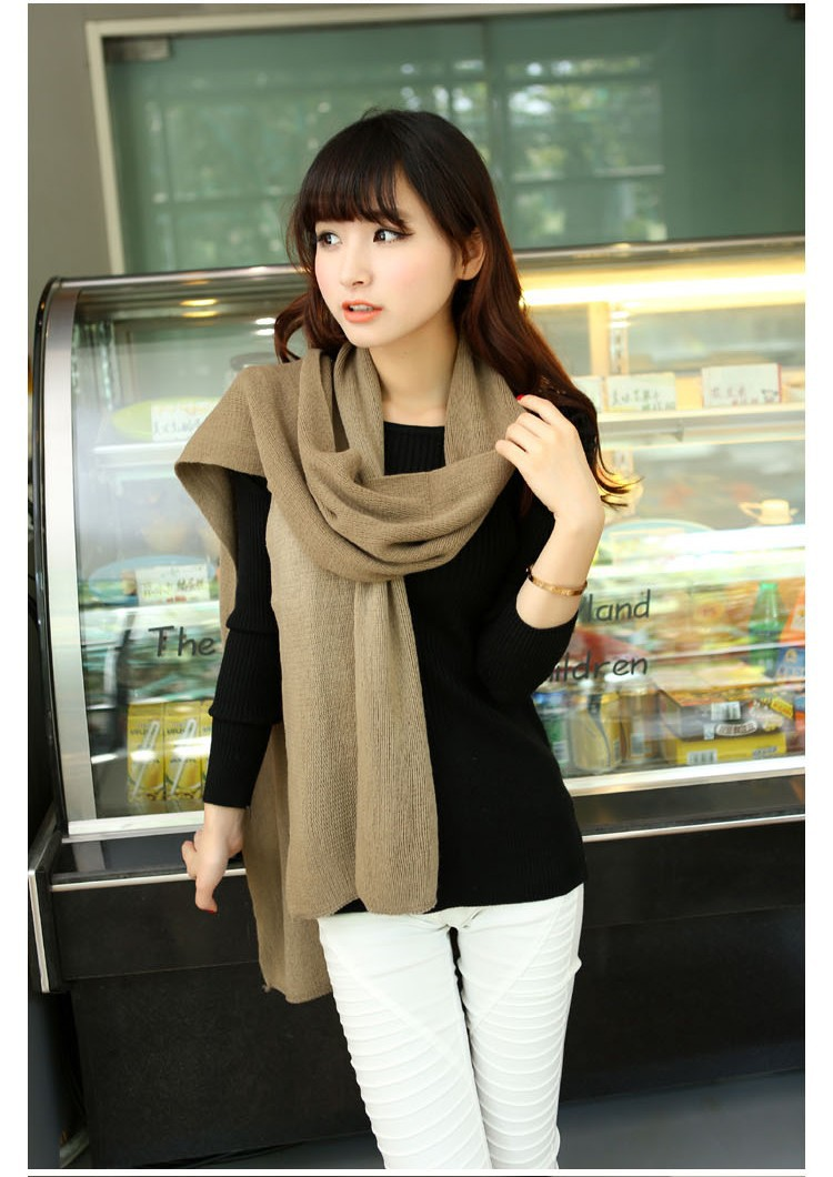 Free shipping 1pcs khaki color 2014 korean winter scarf shawl