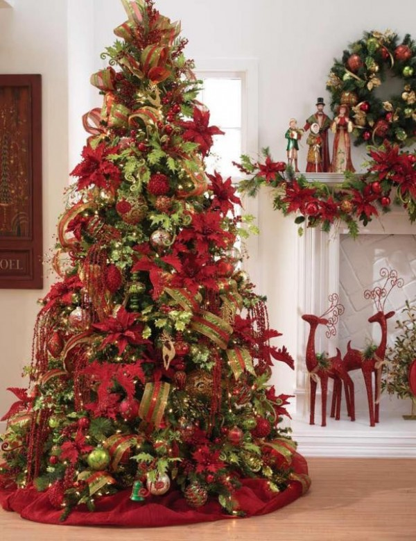 white christmas tree with red and gold decorations photo25