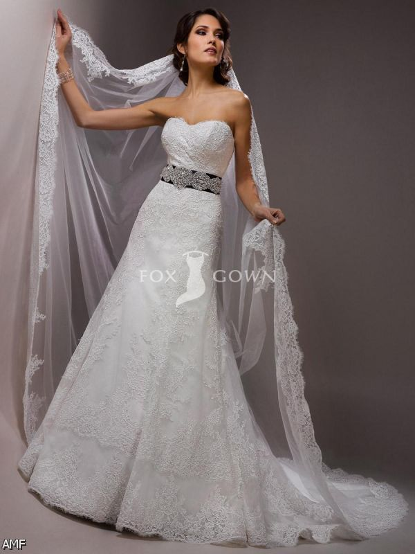 A line wedding dresses with sweetheart neckline lace 2015 for Lace a line wedding dress with sweetheart neckline