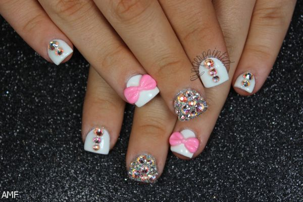 Nails Designs 2014 With Bows Acrylic Nails With Bow...