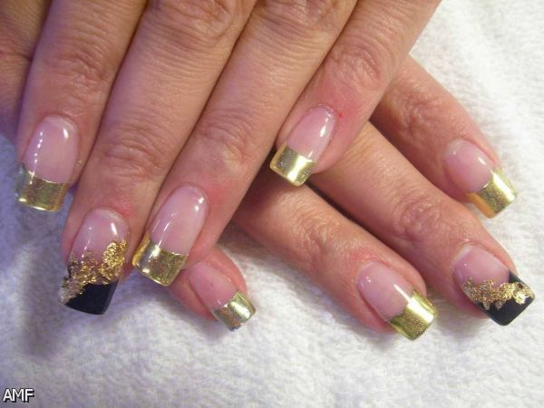 black and gold french nail designs 20152016 fashion