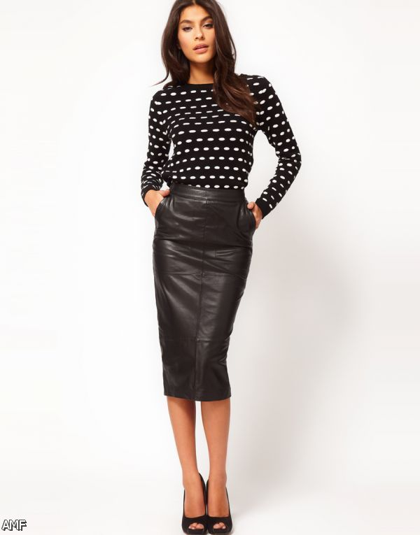 black leather pencil skirt outfit 20152016 fashion