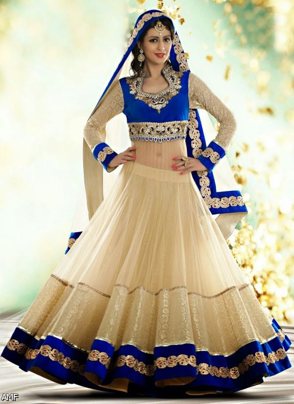 Blue Indian Wedding Dresses For Bride 2016