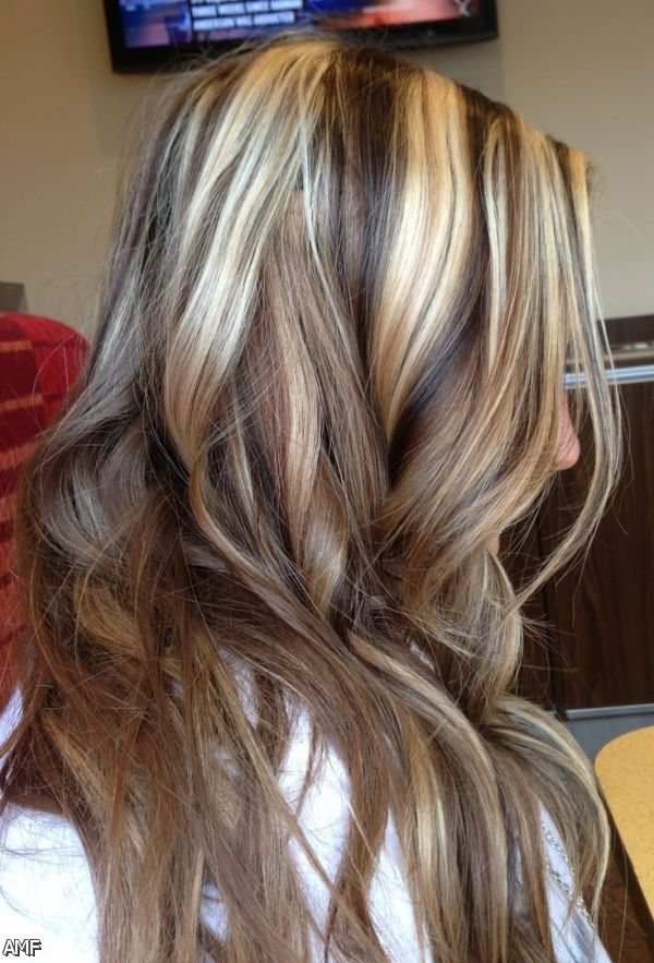 brown curls with blonde highlights and lowlights 32034477 — Brown.