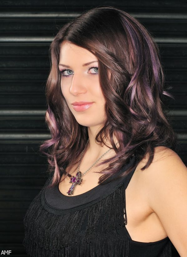 ... Hair With Purple Highlights Underneath Brilliant Dark Brown Hair