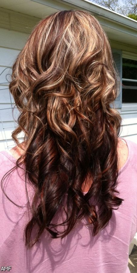 Dark Red Brown Hair With Blonde Highlights 2015-2016 | Fashion Trends ...