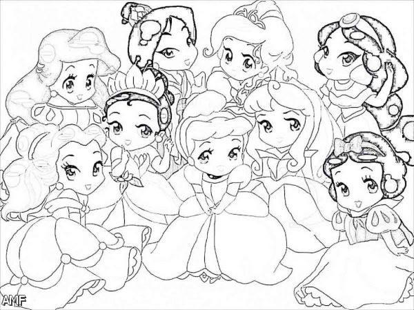 Chibi Anime Disney Princess Coloring Pages Coloring Pages