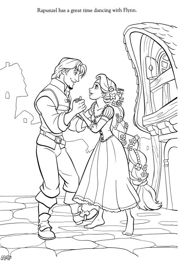 Disney Princess Rapunzel And Flynn Coloring Pages 2015 ...